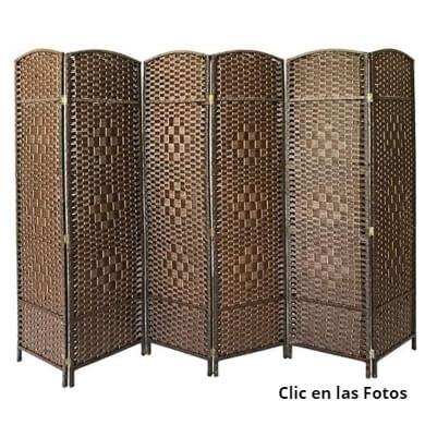 biombos separadores de mimbre rattan madera bambú decorativos salon comedor dormitorio restaurantes salones de boda