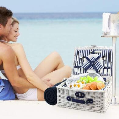 cesta picnic mimbre blanco playa campo familia verano vacaciones