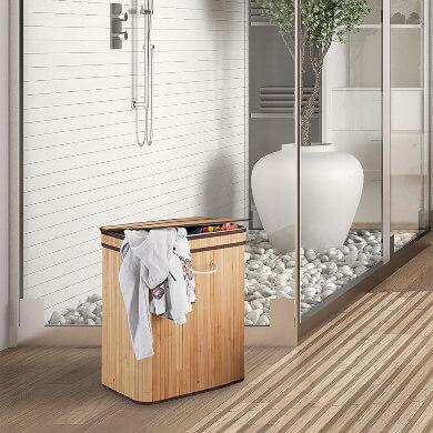 cestos cestas mimbre rattan bambú madera con funda dos comparimientos cuadrados redondos ropa zapatos juguetes
