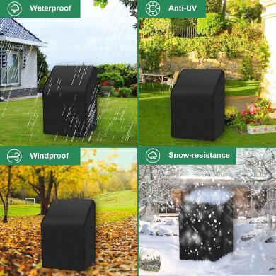 Funda para Sillas Apilables, Funda Apilable para Silla de Jardín Impermeable, Resistente al Viento, Anti-UV, Telas Oxford 420D Resistente