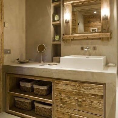 baño microcemento system baldas espejo rustico cestas mimbre