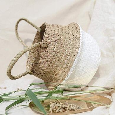 cestas cestos canastos bolsos capazos de mimbre ratan bambú natural decorativos en oferta