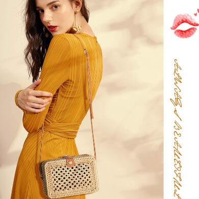 Bolsos de mano de ratán para mujer, pequeños bolsos de hombro hechos a mano con tira de cuero ajustable, bolsos de playa bohemios