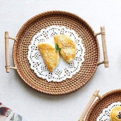 bandejas de mimbre redondas decorativas pan fruta café