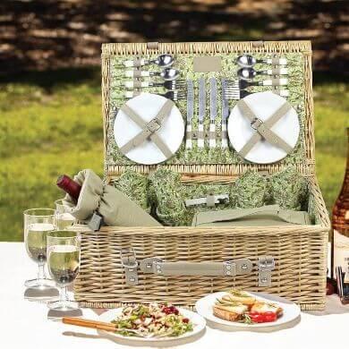 cesta de mimbre ratán bambú madera picnic camping excursión campamento paseo aire libre