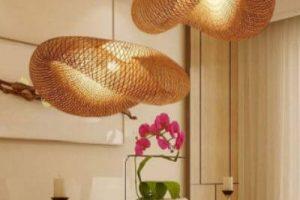 lamparas mimbre moderno moda estilo comedor techo luz led