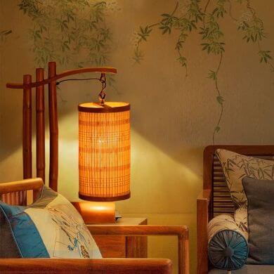 lámparas de mesa de noche de mimbre bambú rattan forja madera cristal