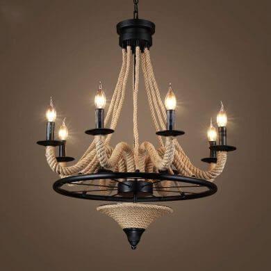 lampara de techo hecho a mano con cuerdas y forja artesanal rustico decoración de interiores