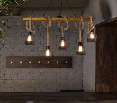 lámparas cuerdas yute cañamo mimbre ratan decoracion salon comedor bares restaurantes.