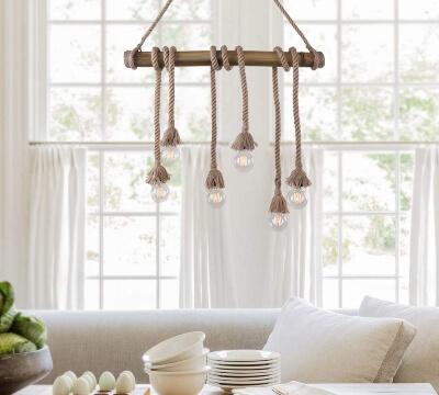 lamparas techo cáñamo cuerdas decoracion interiores
