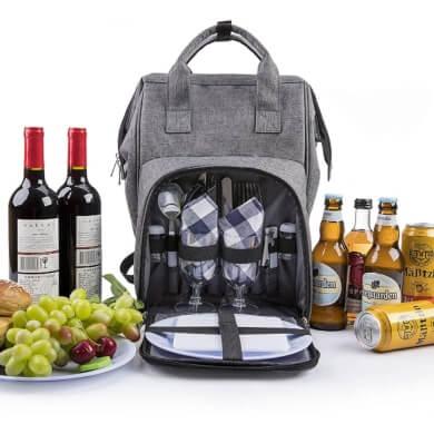 mochila picnic platos cubiertos copas mantel servilletas térmico comodo económico barato online