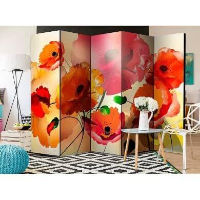 biombos de mimbre decorativos de diseño flores rios paisajes colores