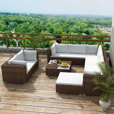 conjunto de muebles de jardin piscina terraza de mimbre ratán PE