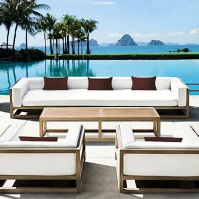 muebles sofá de madera y tela Sunbrella estilo inglés moderno estilo diseño moda