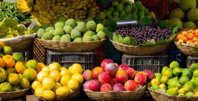 cesto cesta frutas tropicales de temporada