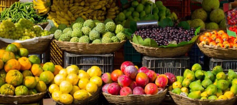 cesto cesta frutas tropicales de temporada fruteros de mimbre