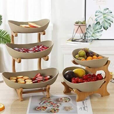 bandejas de fruta 3 pisos de cerámica y madera modernas decorativas