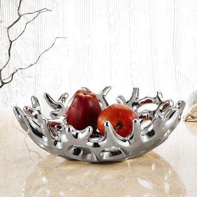 cesta para fruta cerámica plateada decorativa original moderna económica mejor regalo