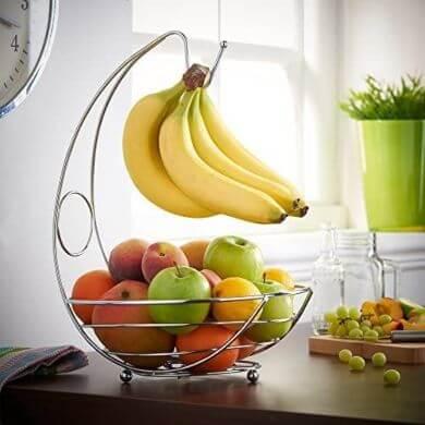 cesta de acero cromado para fruta y verduras elegante de disño moderno economico en oferta online