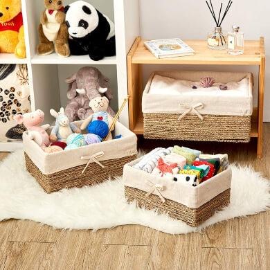 cajas de mimbre almacenamiento orden organizacion decoracion muebles