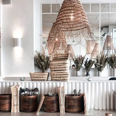Lámparas de mimbre natural elegante decorativa rustico