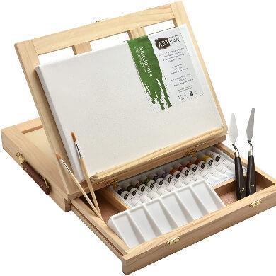 maletin de madera con caballete para pinturas pequeñas con lienzo