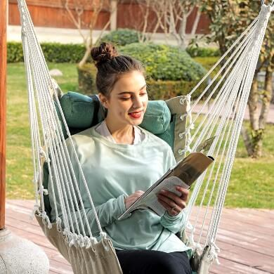 Silla hamaca de tela acolchada resistente interiores exteriores lavable cómoda relax tiempo libre descanso confort