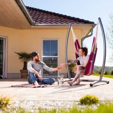 silla jardin hamaca flotante colgante tela colores reciclada