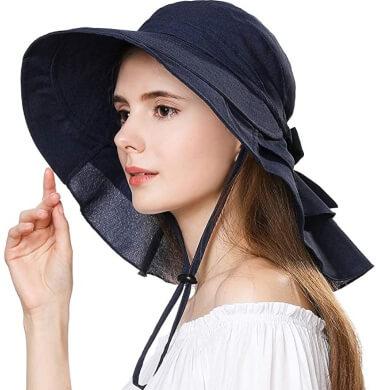 Sombrero integral de poliester para l protección de cara hombros cuello ojos ideal para paseos por la playa campo piscina
